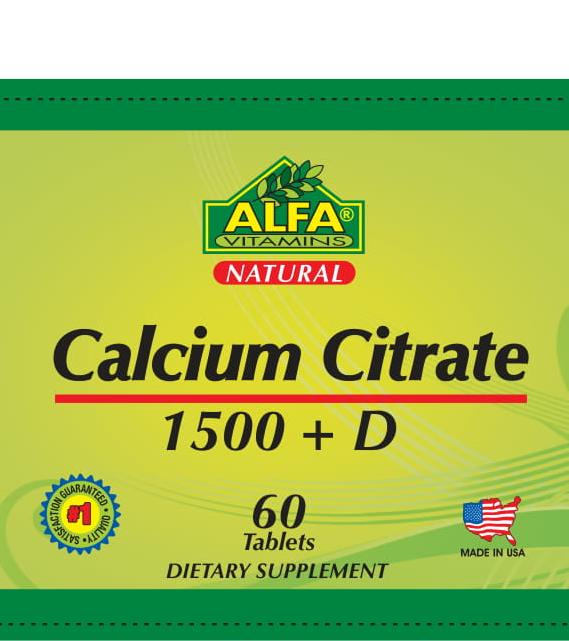 5 Calcium Citrat 1500 mg + D – 60 tablets